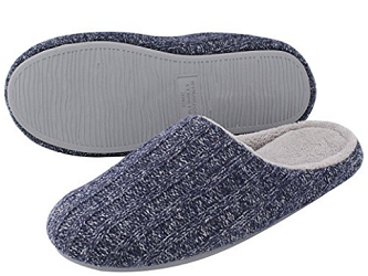 HomeIdeas Men's Cashmere Cotton Knitted Anti Slip House Slippers